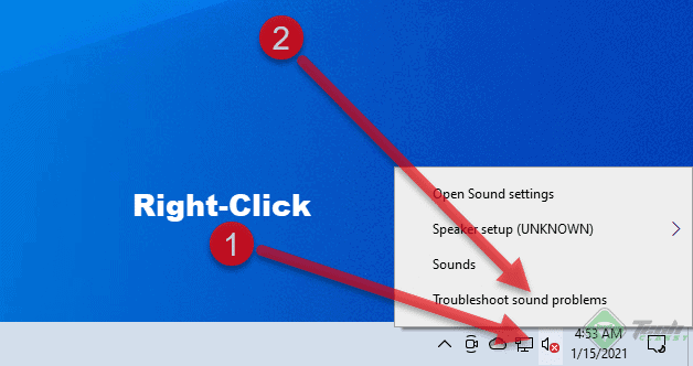 Launching Audio Troubleshooter Windows 10